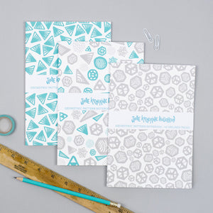Geometric Grey / Turquoise Notebooks
