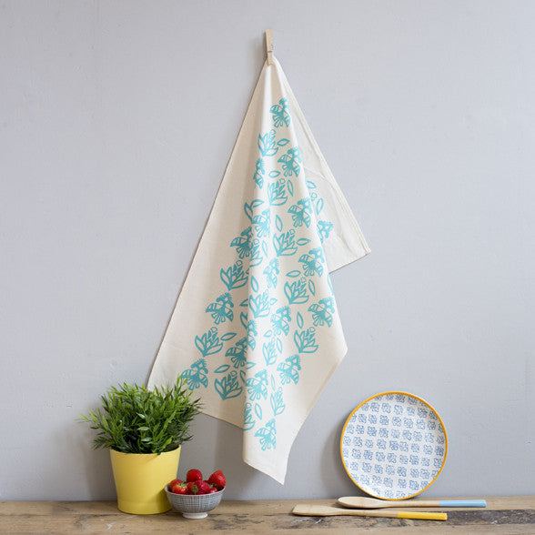 Floral Aqua Tea Towel