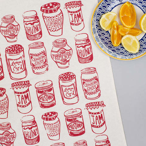 Jam Jars Red Tea Towel