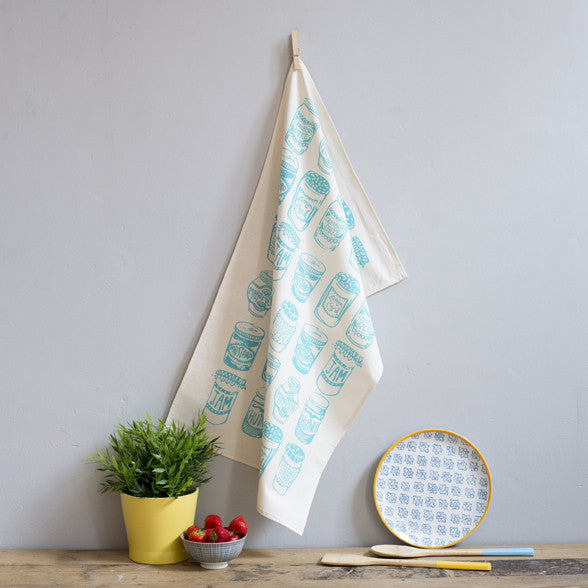 Jam Jars Aqua Tea Towel