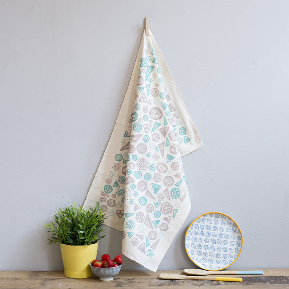 Turquoise Grey Geometric Tea Towel