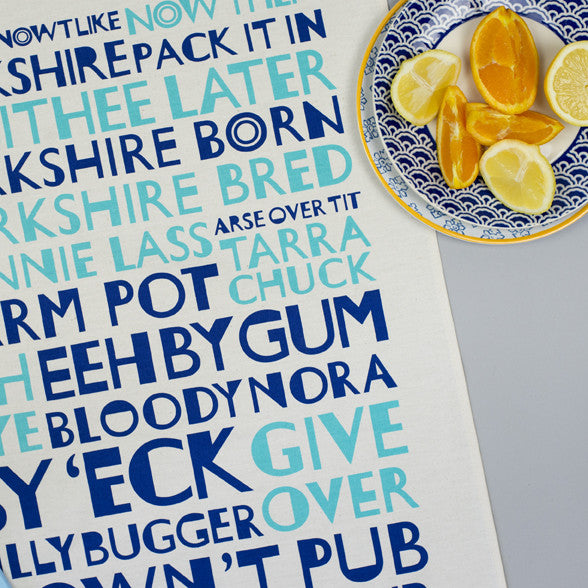 Aqua Navy Yorkshire Tea Towel