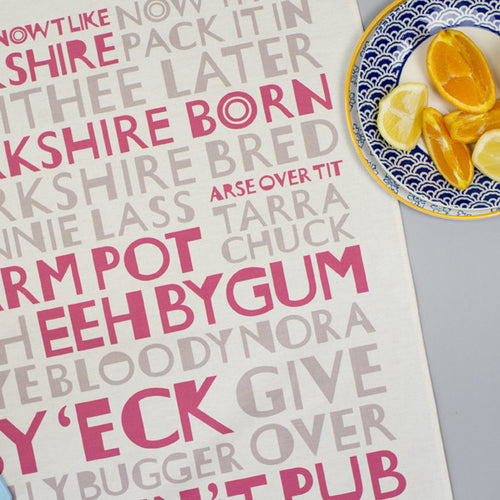 Red Grey Yorkshire Tea Towel