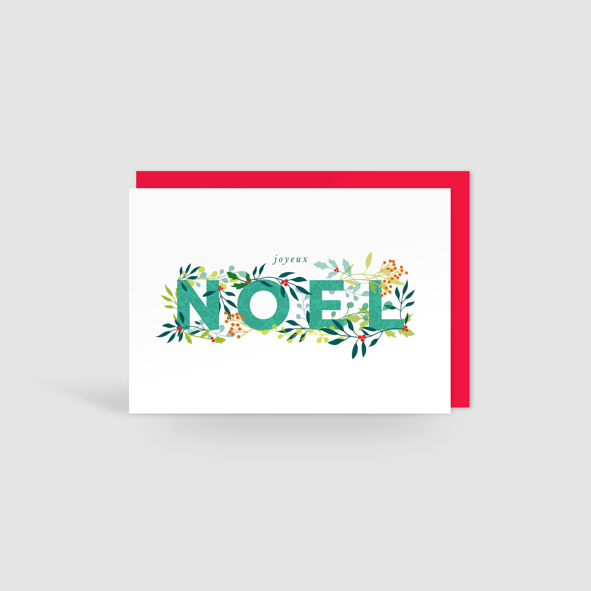 Joyeux Noel Holly Jolly Christmas Card