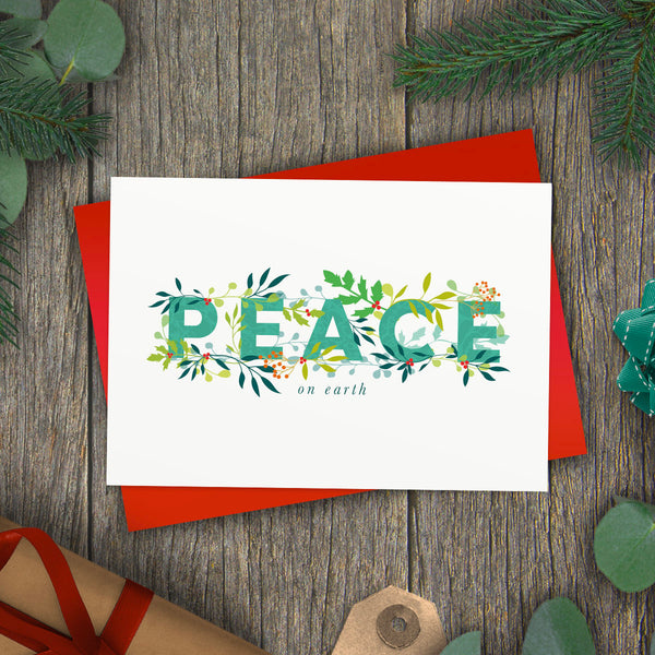 Peace On Earth Holly Jolly Christmas Card