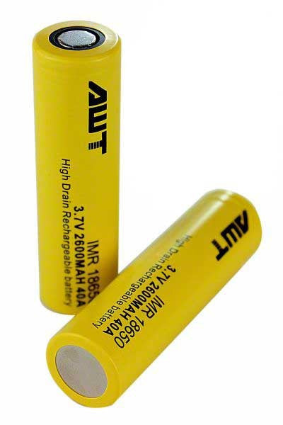 AWT IMR 18650 Battery 2600 mAh 40A Yellow