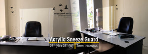 Portable Acrylic Sneeze Guard w/ Base- (23in Height) Basic Front Design