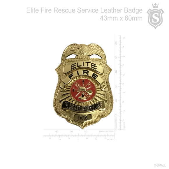 Elite Fire Rescue Service Leather Badge