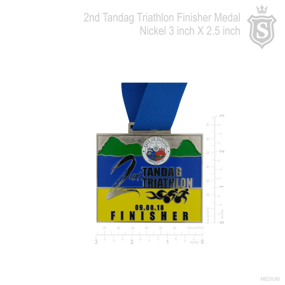 2nd Tandag Triathlon Finisher Medal Nickel Finish 3 inch x 2.5 inch