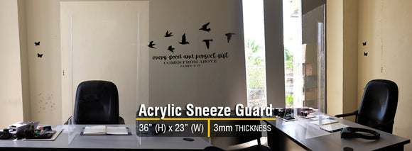 Portable Acrylic Sneeze Guard w/ Base- (36in Height) Basic Front Design