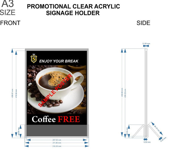 A3 Promotional Clear Acrylic Signage Holder