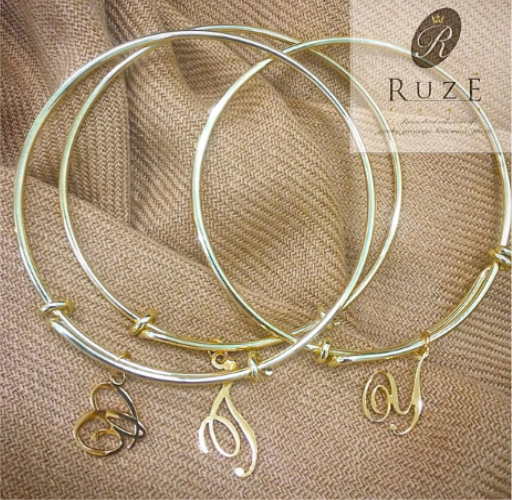 Adjustable Bangle with cut out cursive letters