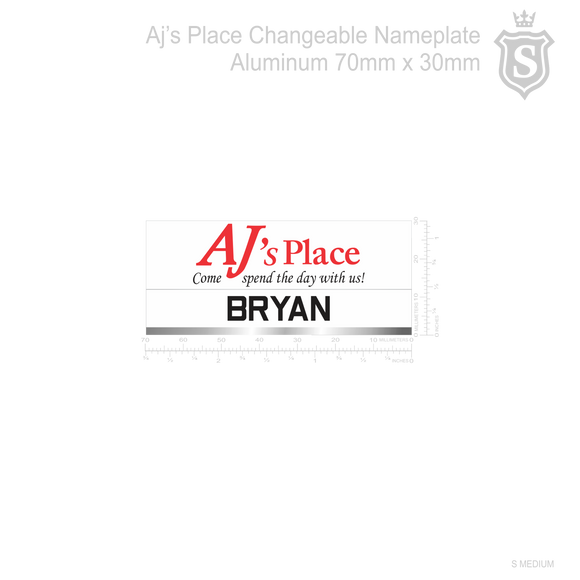 AJ's Place Changeable  Aluminum Nameplate
