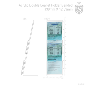 "Acrylic Double Leaflet Holder Bended 4.11"" x 18.27"" H"