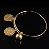 Adjustable Bangle with 3 Charms Gold 64mm