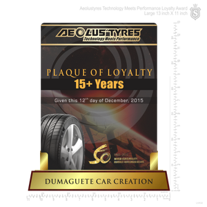 Aeolustyres Technology Meets Performance Plaque of Loyalty 13 inch