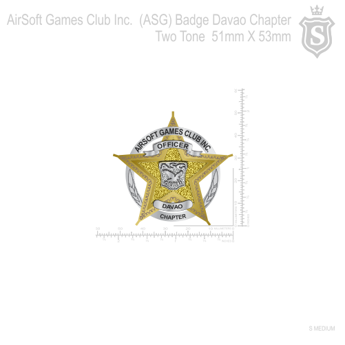 AirSoft Games Club Inc.  (ASG) Badge Davao Chapter Two Tone 51mm