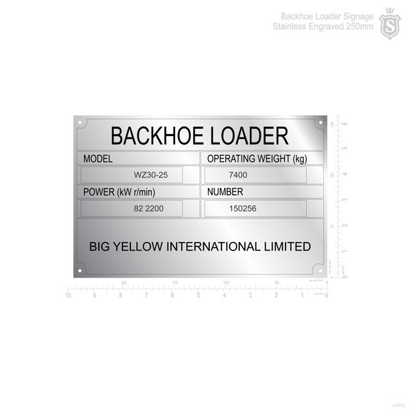 Backhoe Loader Signage Stainless Engraved 250mm