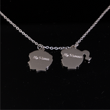 Boy & Girl Head Pendant with Engrave Names Silver 20mm