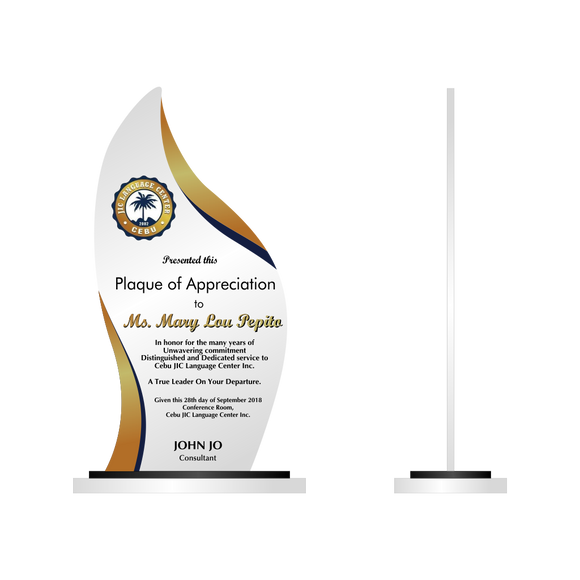 Cebu JIC Plaque of Appreciation