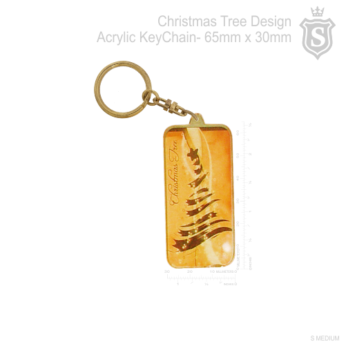Christmas Tree Design Acrylic Keychain 65mm