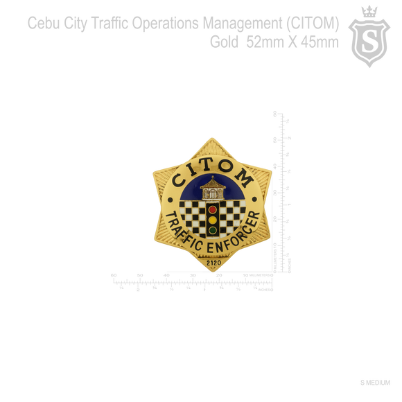 Cebu City Traffic Operations Management (CITOM) Badge Gold 52mm