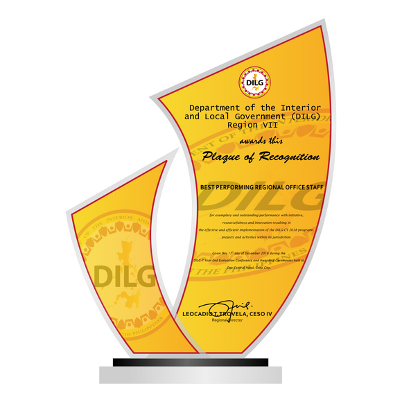 DILG Best Performing Regional Office Plaque 10