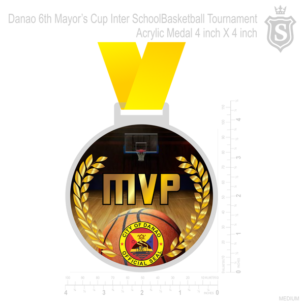 Danao 6th Mayors Cup Inter School Basketball Tournament Acrylic Medal 4 Inch