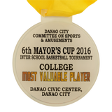 "4""dia Acrylic Danao 6th Mayor's Cup Inter School Basketball Tournament Medal"