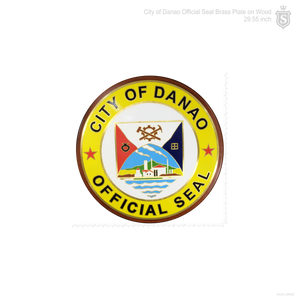 City of Danao Seal Brass on Wood 29.55 inch diameter