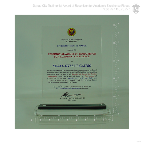 testimonial award of recognition for academic excellence plaque 9 68
