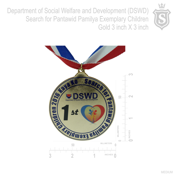 Department of Social Welfare and Devevlopement (DSWD) Search for Pantawid Pamilya Exemplary Children Award Gold Medal 3 inch