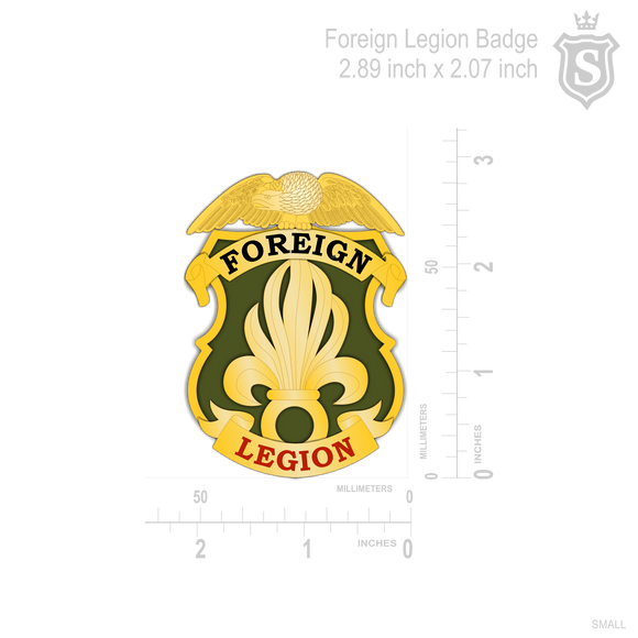 Foreign Legion Badge 2.89 inch x 2.07 inch