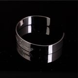 Flat Bangle with Engrave - Thick Silver 67mm