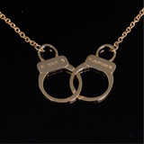 Hand Cuffs Pendant with Engrave Names Gold 38mm