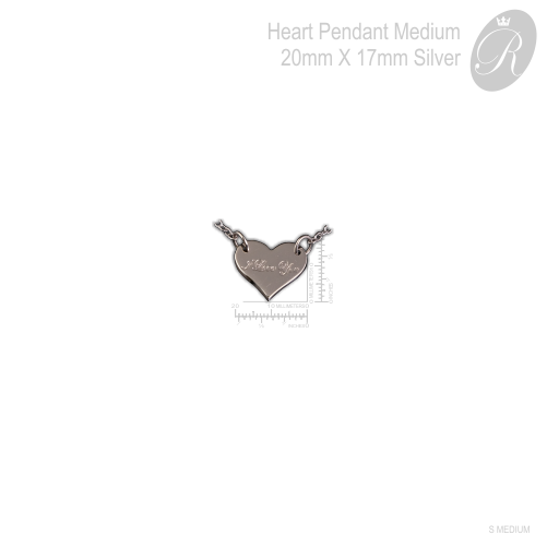 Heart Pendant with Engrave Name Silver Medium 20mm