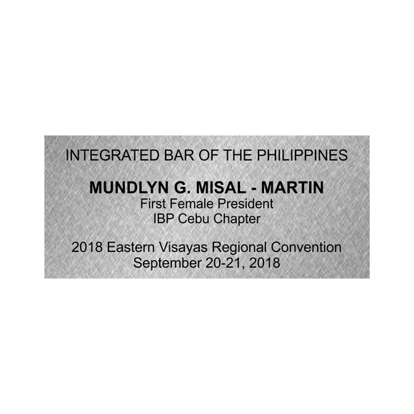 Integrated Bar of the Philippines (IBP) Keynote Stainless Engraved Plate 22mm x 50mm