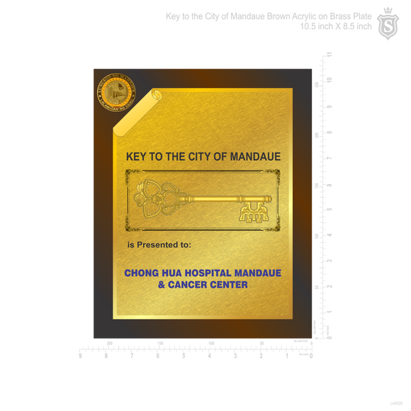 Key to the City of Mandaue Brown Acrylic on Brass Plate 10.5 inch