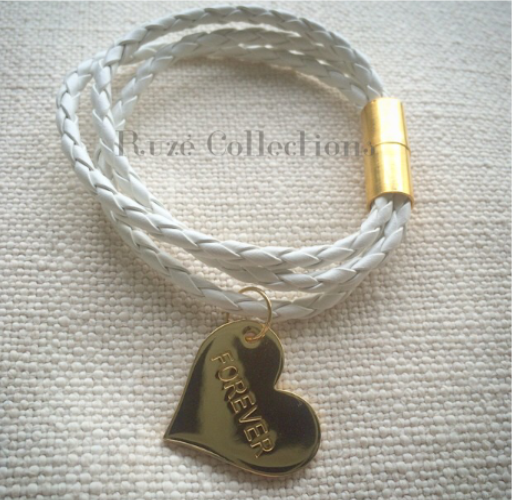 Leather Bracelet with Heart Pendant with engraving
