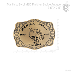 Manila to Bicol M2D Finisher Race Buckle Antique 3.5 inch