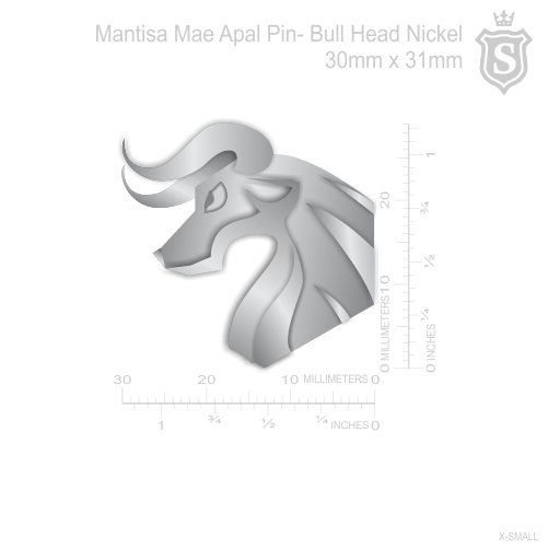 Mantisa-Bull Head Pin Silver