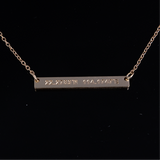 Name Bar Pendant with Engrave Name Gold 40mm