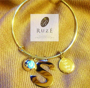 Adjustable Bangle with charms and birthstone