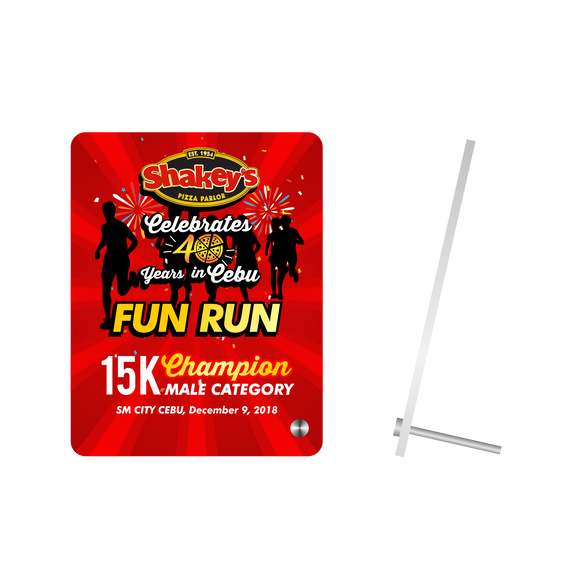 Shakyes Fun Run Acrylic Plaque with Rod Stand