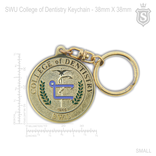 South Western University (SWU) College of Dentistry Keychain Gold 38mm