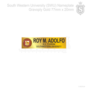 South Western University (SWU) Nameplate Gravoply Gold