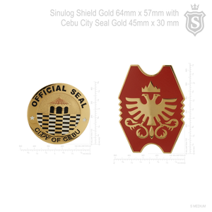 Sinulog Shield  Gold 64 mm with Cebu City  Gold Seal