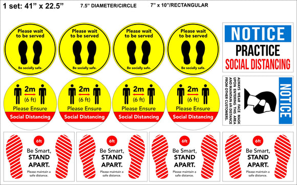 Room and Floor stickers- Social Distancing