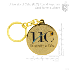 University of Cebu - UC Round  keychain gold 38mm
