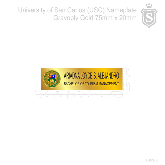 University of San Carlos (USC) Nameplate Gravoply Gold 75mm